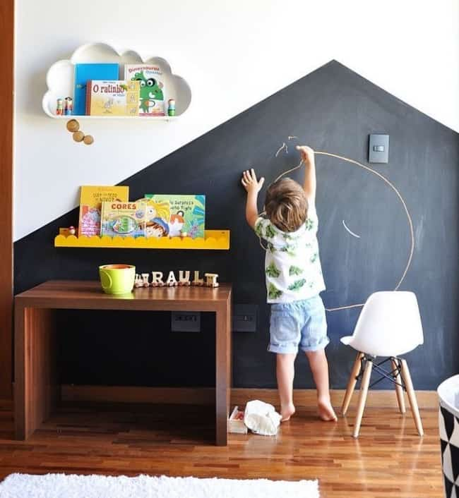 quarto infantil parede tinta lousa 16