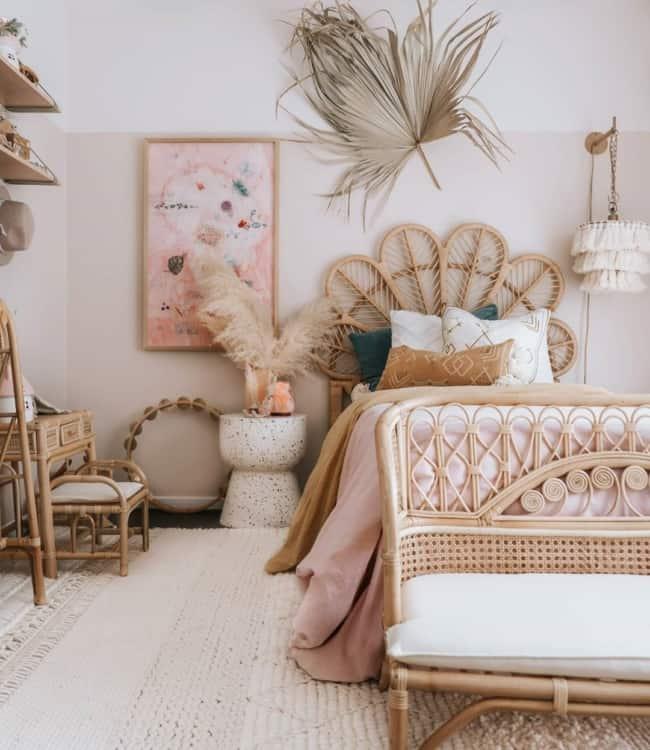 quarto infantil rosa fibras naturais