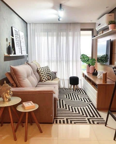 sala de apartamento pequeno 34