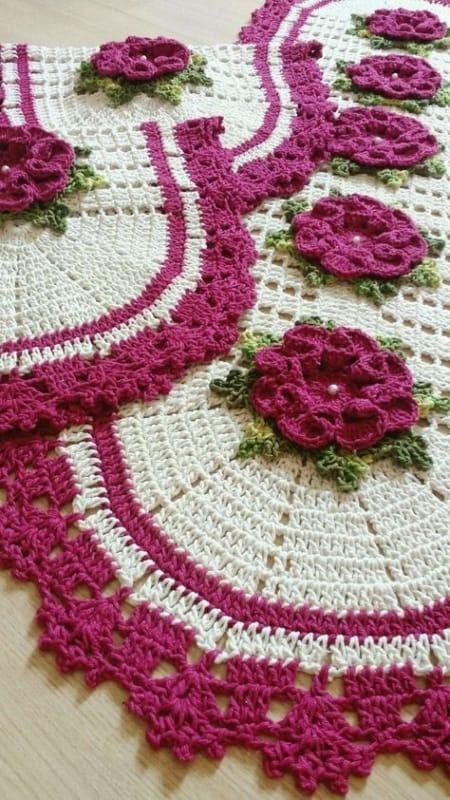 tapete de flores feito de croche 06
