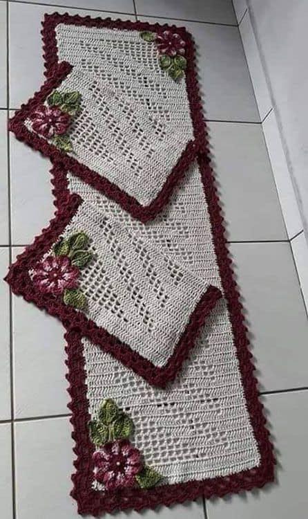 tapete de flores feito de croche 08