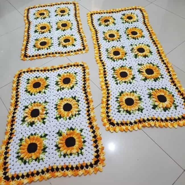 tapete de flores feito de croche 09