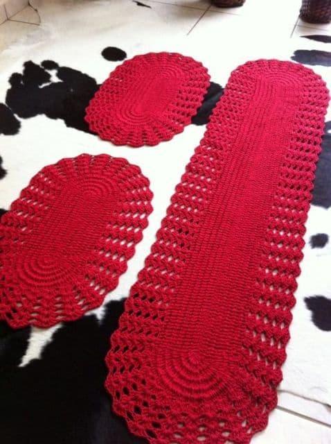 tapete para cozinha vermelho feito de croche 19