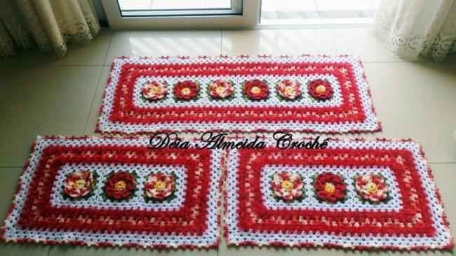 tapete para cozinha vermelho feito de croche 22