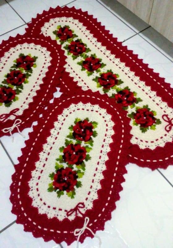 tapete para cozinha vermelho feito de croche 23
