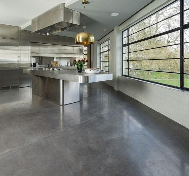 cozinha com concreto polido