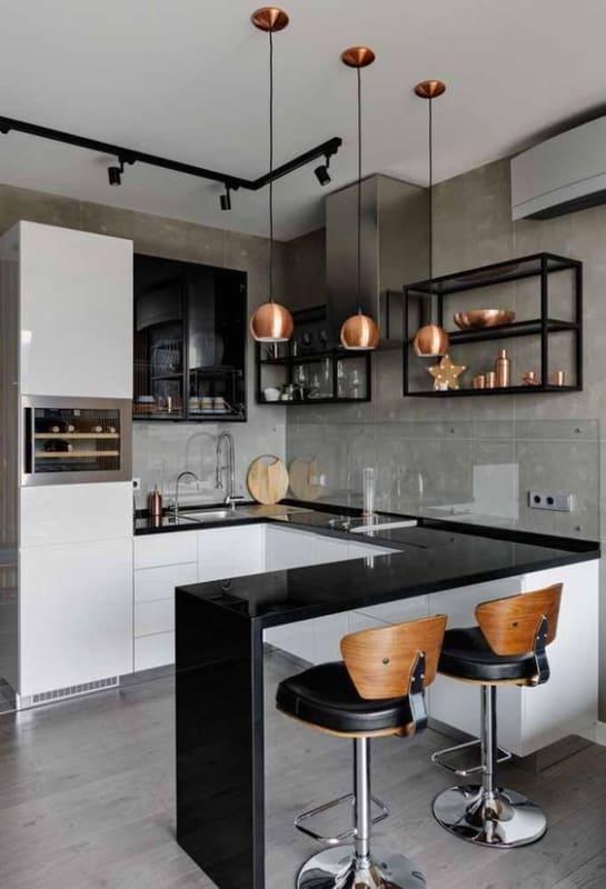 cozinha americana com estante industrial preta com prateleiras de vidro