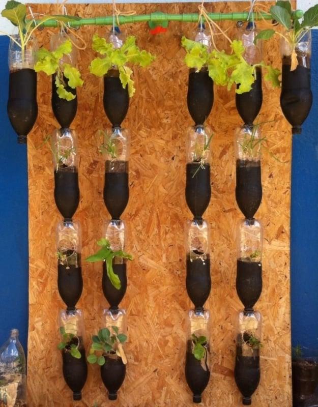 painel de compensado com horta vertical