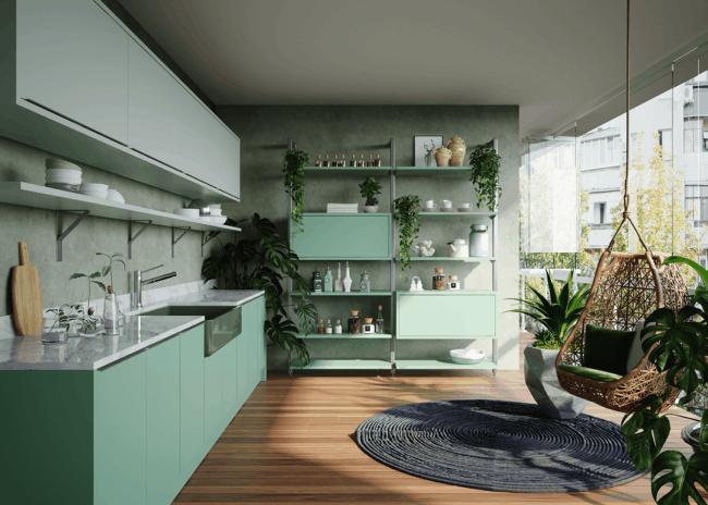 armarios modernos em verde menta