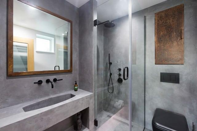 bancada de banheiro de concreto polido