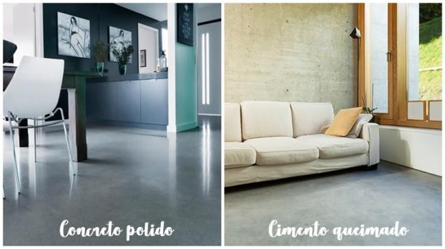 diferenca entre concreto polido e cimento queimado