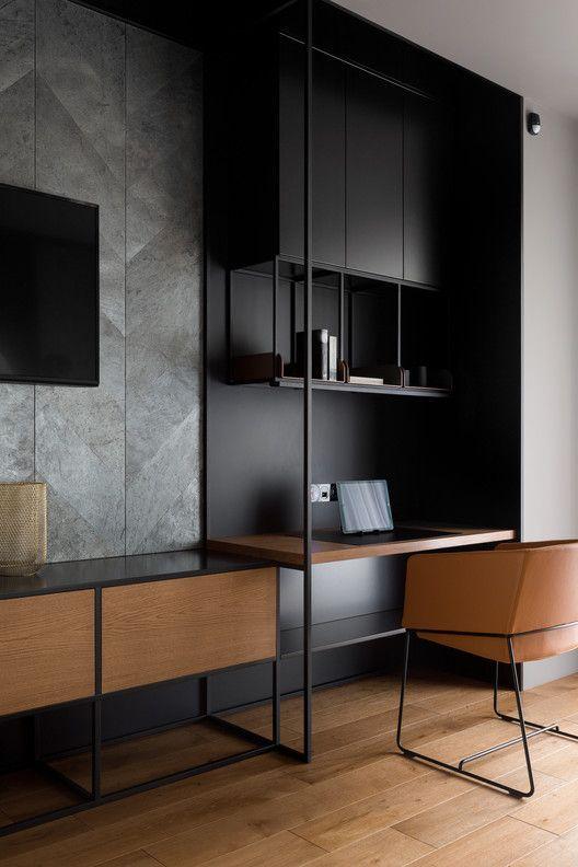 home office com estante industrial na sala