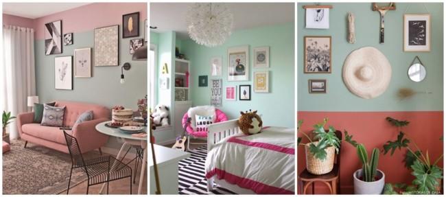 decoracao em verde menta e rosa