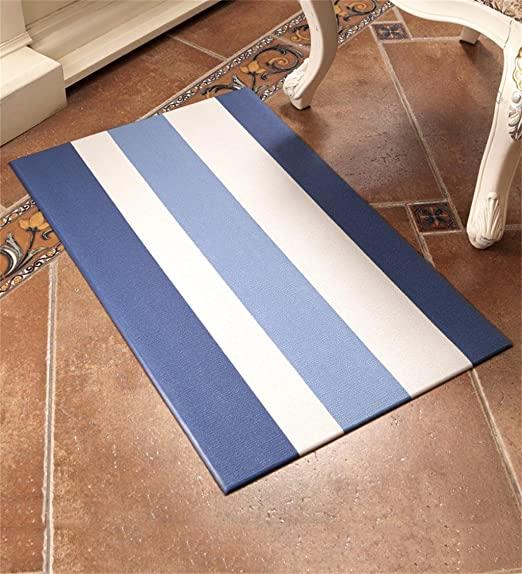 pequeno Tapete listrado azul