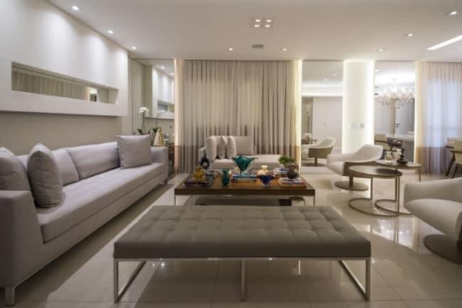 sala de estar de luxo com parede em algodao egipcio