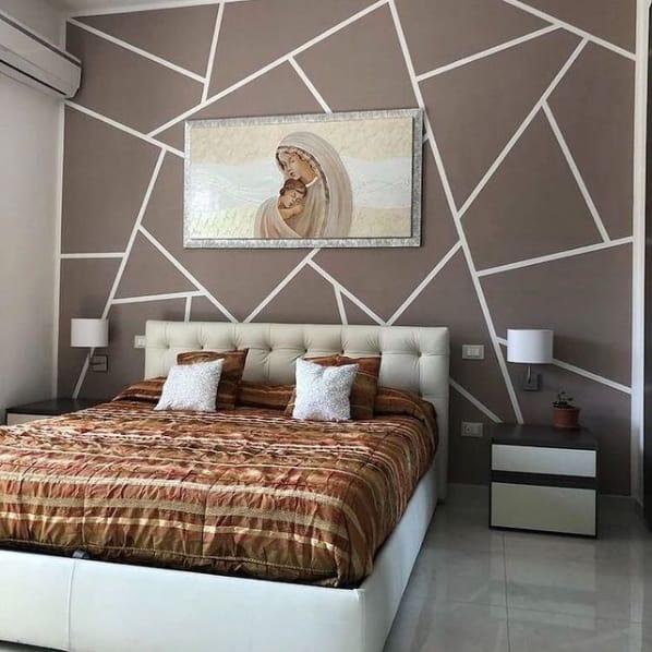 quarto com pintura geometrica em tinta acrilica