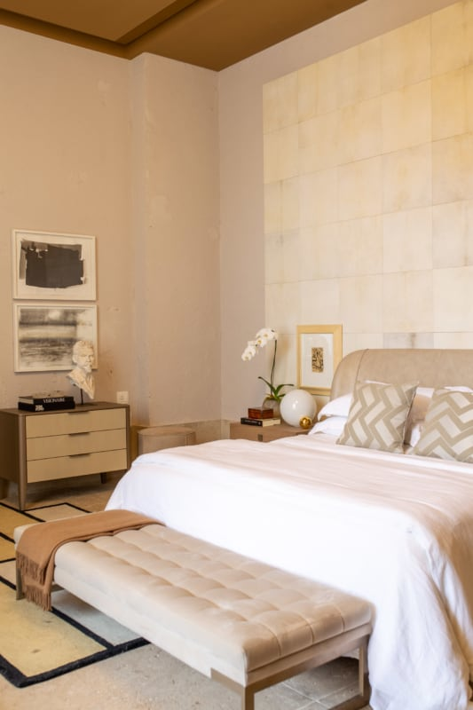 quarto decorado com paredes em algodao egipcio