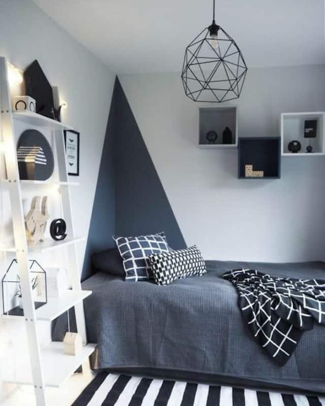quarto de solteiro com pintura geometrica em cinza chumbo