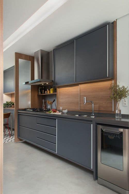 cozinha com armarios em cinza chumbo