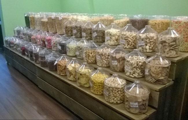 expositor de loja de produtos naturais