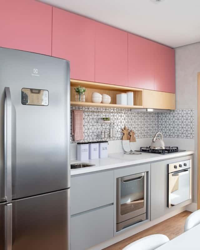 cozinha cinza e rosa