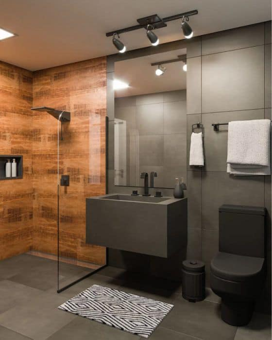 banheiro moderno em cinza