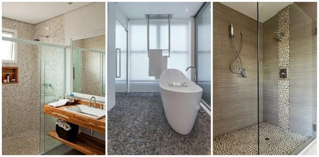 banheiro com piso antiderrapante de pedras