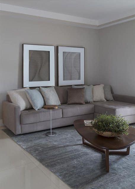 sala com paredes e sofa cinza
