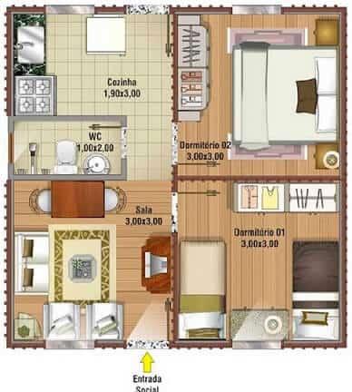 Casa com dois quartos e um banheiro para territorios menores