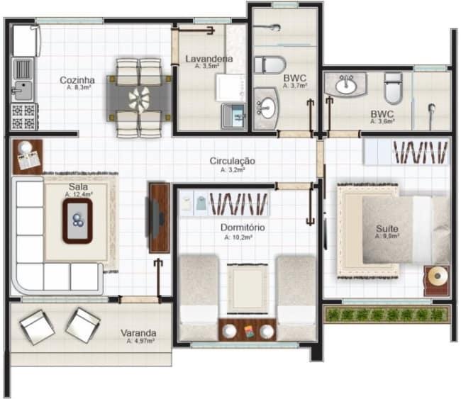 Modelo de planta para casa pequena com dois quartos e cozinha americana