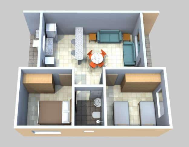 Modelo de planta pequena 3D com dois quartos