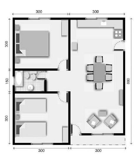 Modelo de plantas de casas com dois quartos 1