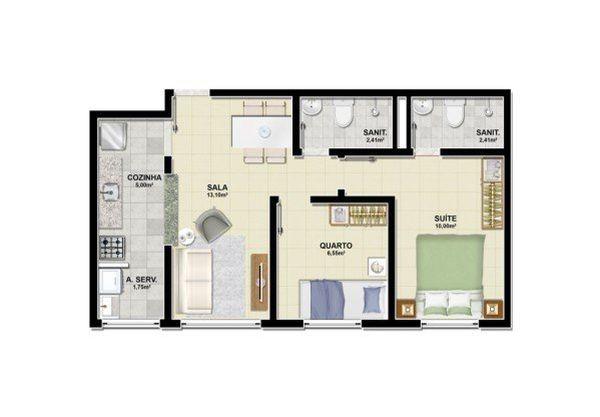 Modelo de plantas de casas simples com dois quartos