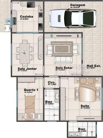 Modelos de plantas de cas as com dois quartos e garagem