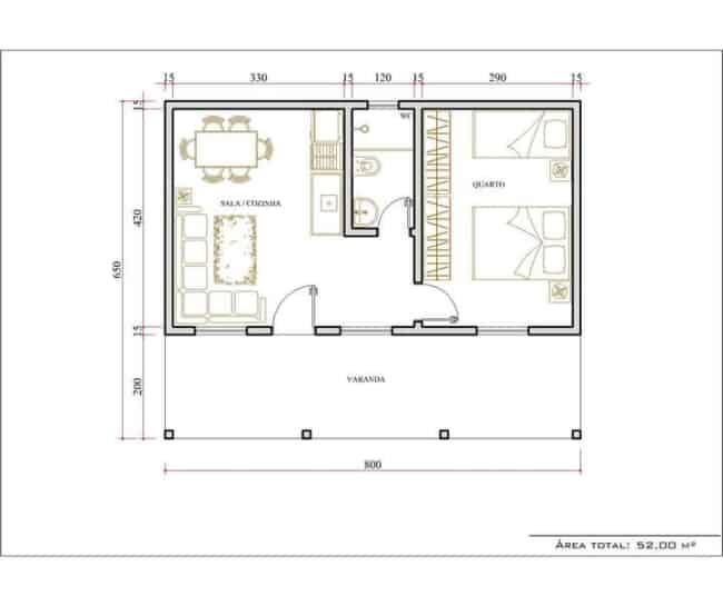 Modelos de plantas de casas com dois quartos e varanda
