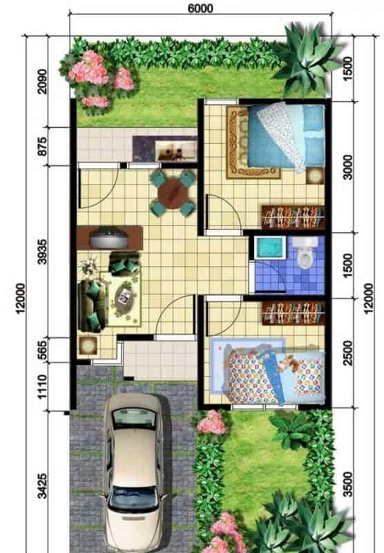 Modelos de plantas de casas com dois quartos