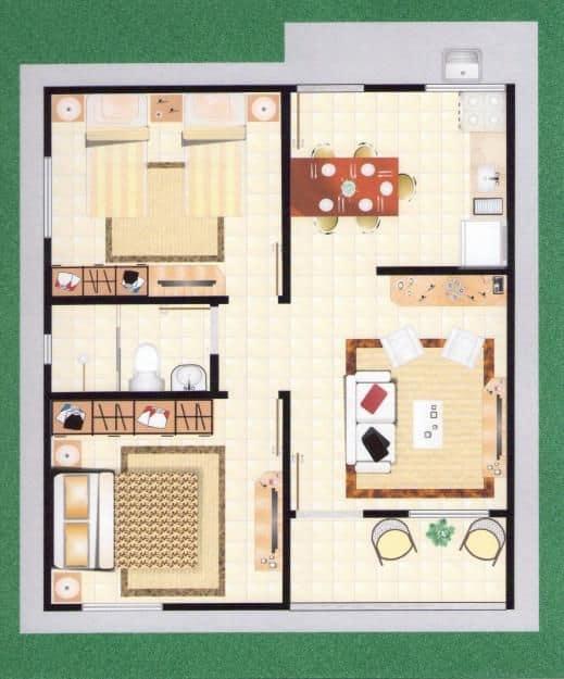 Outro modelo de planta de casas pequenas com dois quartos e cozinha americana