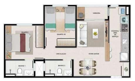 Outro modelo de plantas de casas com dois quartos e varanda simples