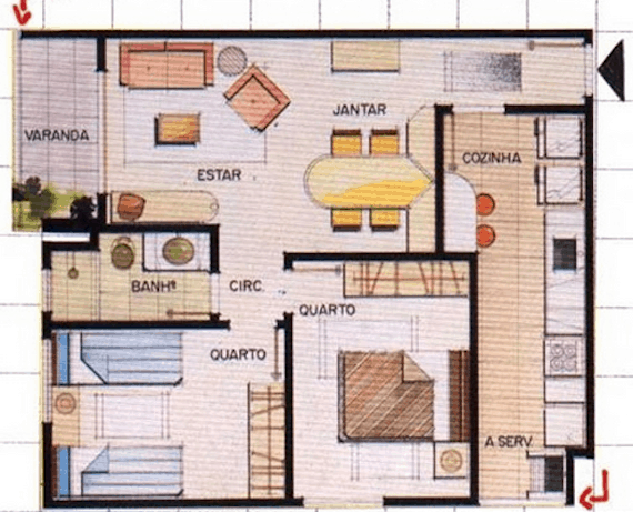 Outro modelo de plantas de casas com dois quartos e varanda