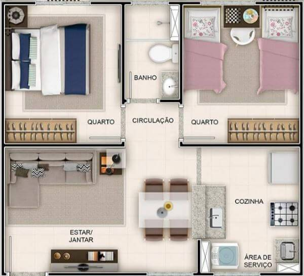 Outro modelo de plantas de casas com dois quartos