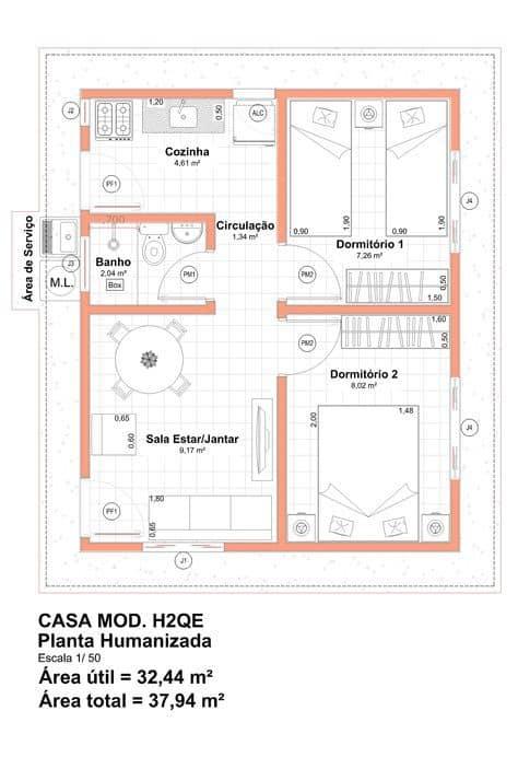 Outro modelos de plantas simples para casas com dois quartos
