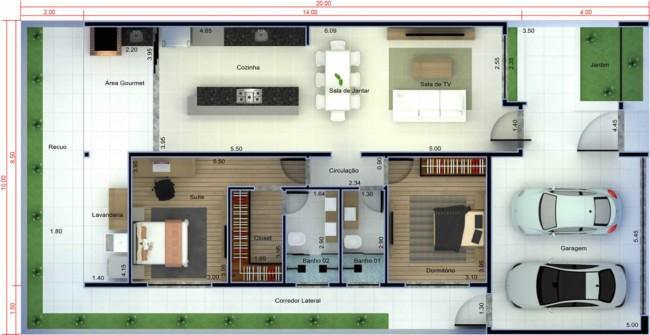 Outros tipos de plantas de casas com dois quartos