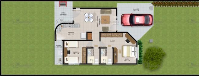 Planta de casa com garagem e dois quartos