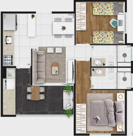 Plantas baixas de casas com dois quartos