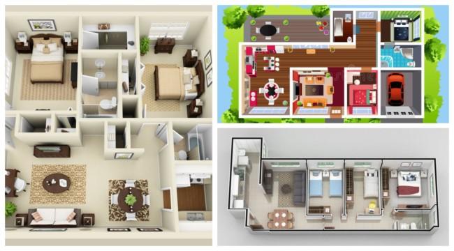 Plantas de casa com dois quartos 2
