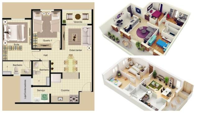 Plantas de casa com dois quartos