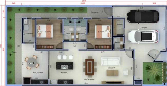 Plantas de casas com dois quartos e garagem para dois carros
