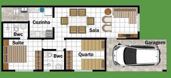 Plantas de casas com dois quartos e garagem