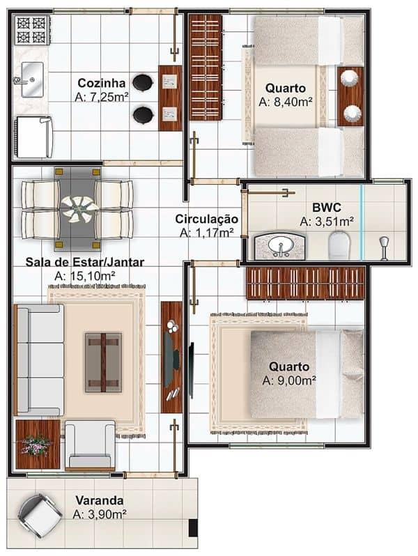 Plantas de casas com dois quartos e uma varanda