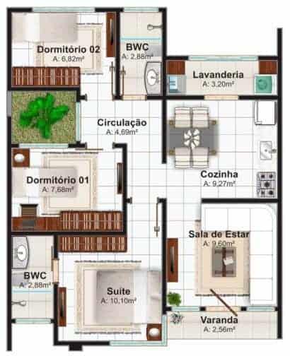 Plantas de casas com dois quartos e varanda simples